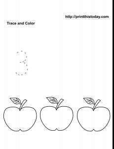 Number 3 free math worksheet