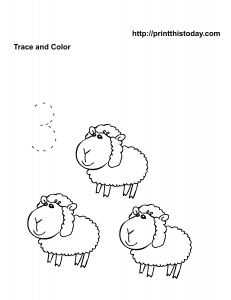 Kindergarten math worksheet with sheep