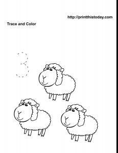 Kindergarten math worksheet with sheep