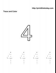 Free kindergarten number 4 math tracing worksheet