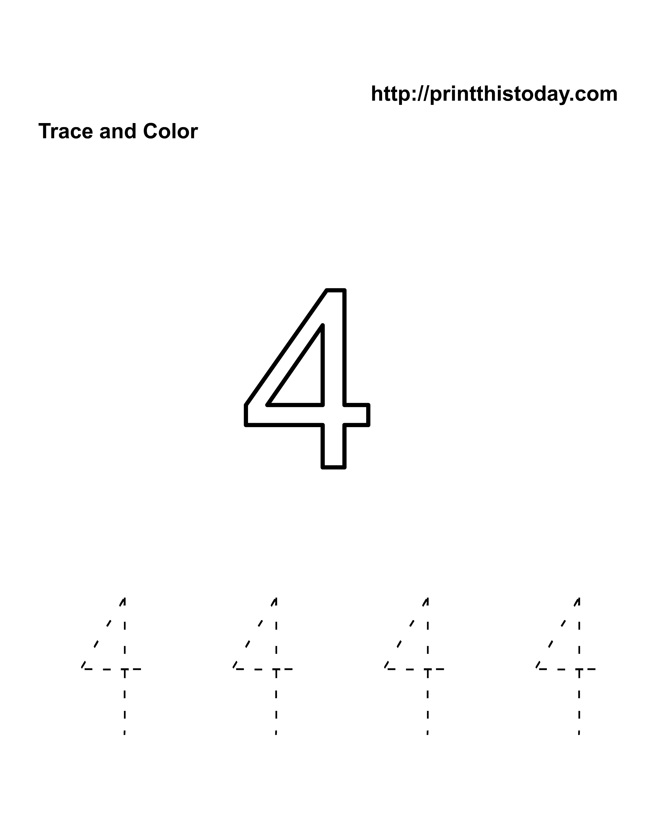Number 4 Tracing Page http://printthistoday.com/free-kindergarten-math-worksheets-number-four-4/