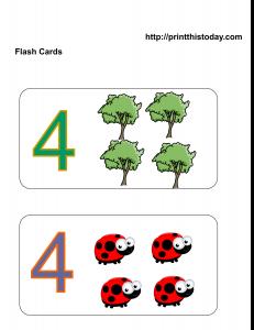 Number 4 Math flashcards