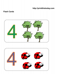 free number four math flashcards