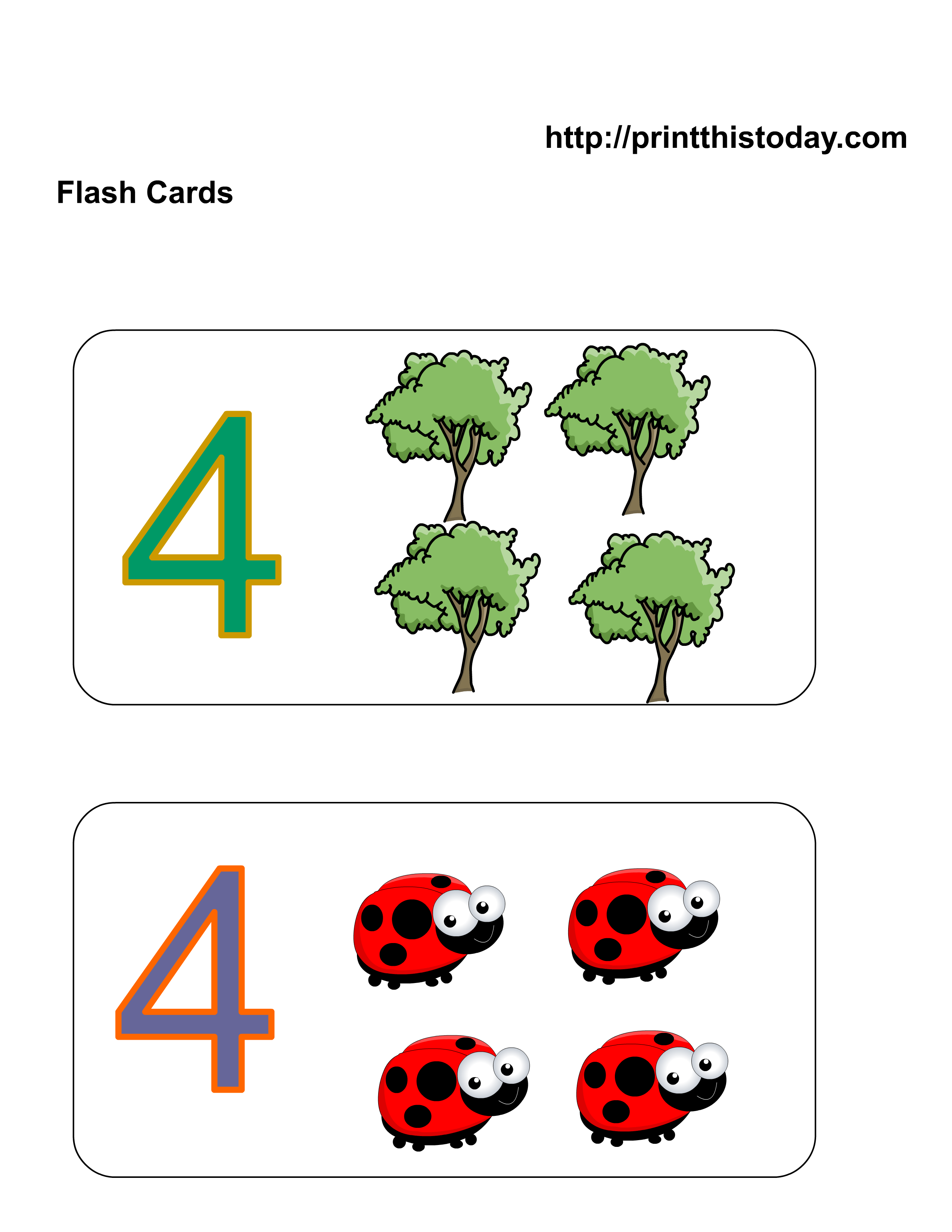 Free Kindergarten Math Worksheets (Number Four, 4)