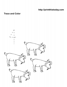Pre school math worksheet with four goats