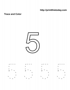 Free number 5 practice math worksheet