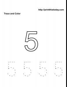 Free number 5 practice math worksheet