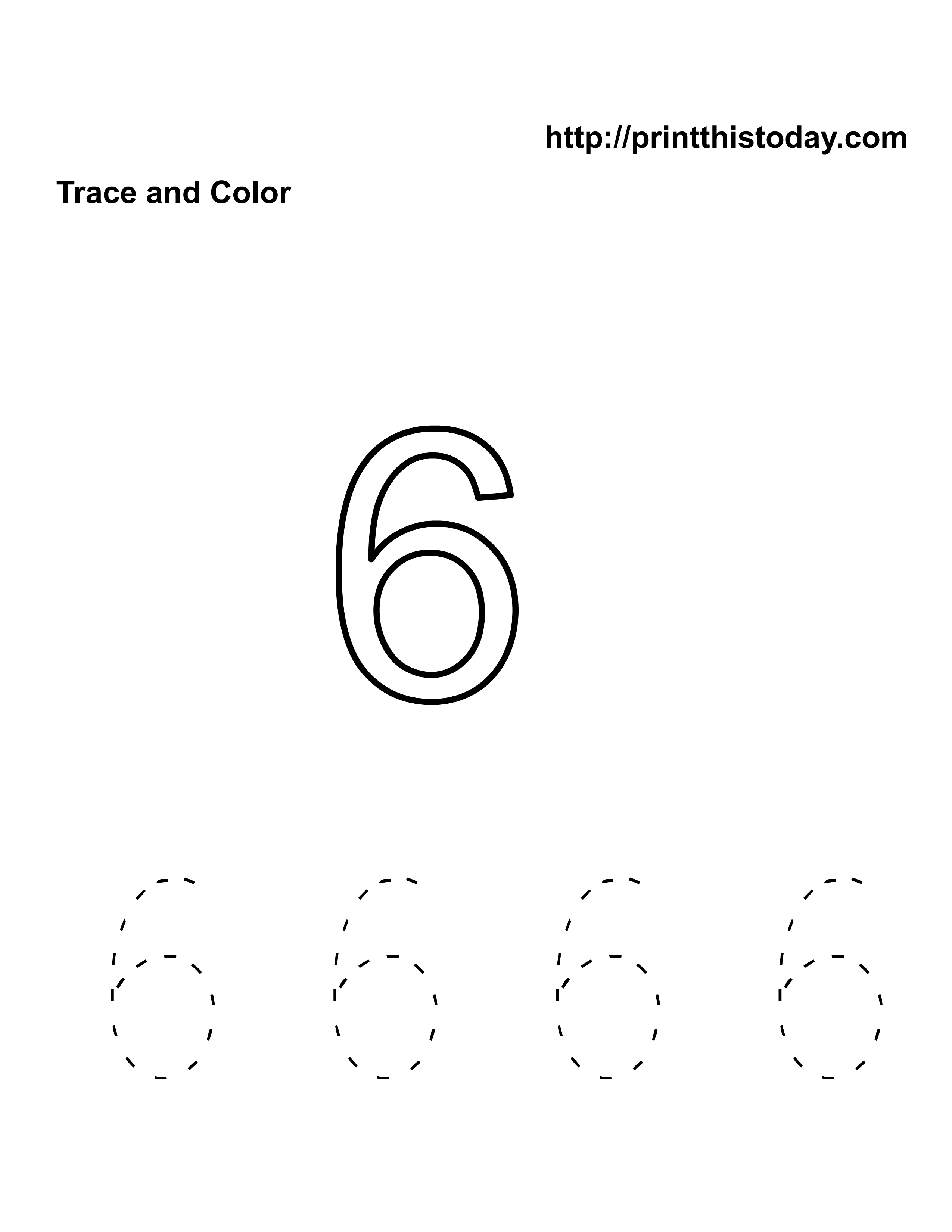 Free Kindergarten Math Worksheets (Number Six,6)