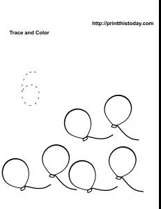 Free number six math worksheet