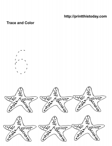 Animals math worksheet with six starfish