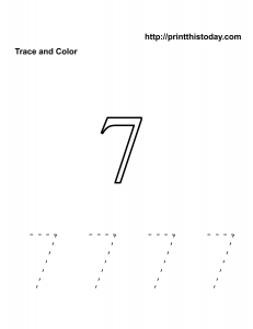 free number 7 math worksheet