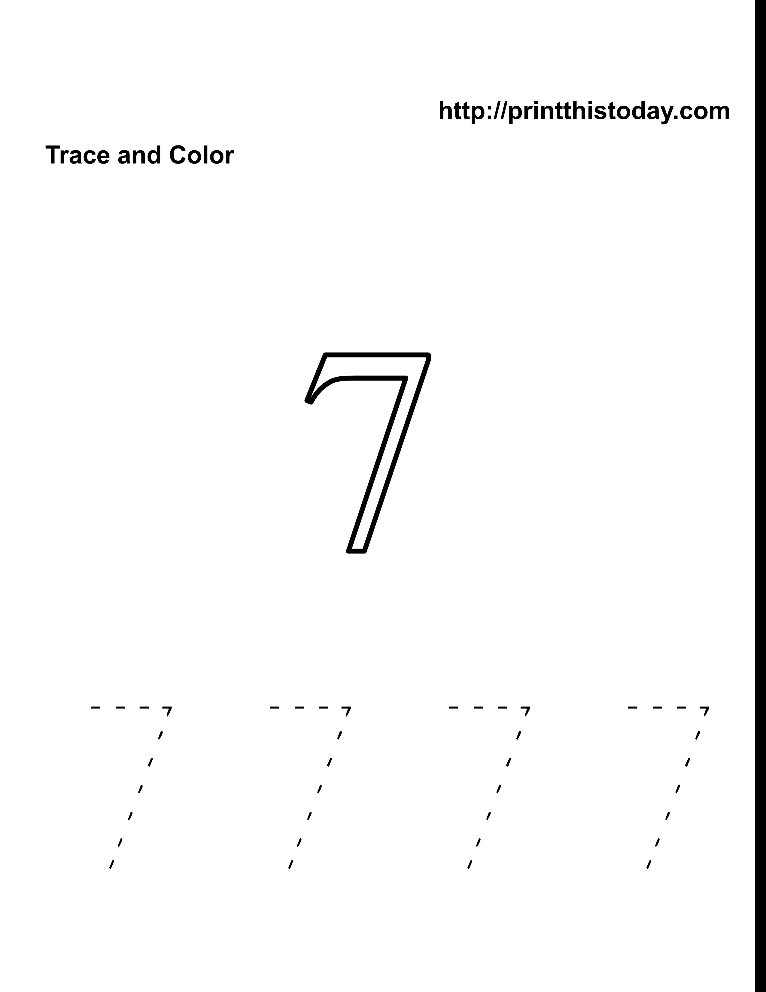 free number 7 math worksheet