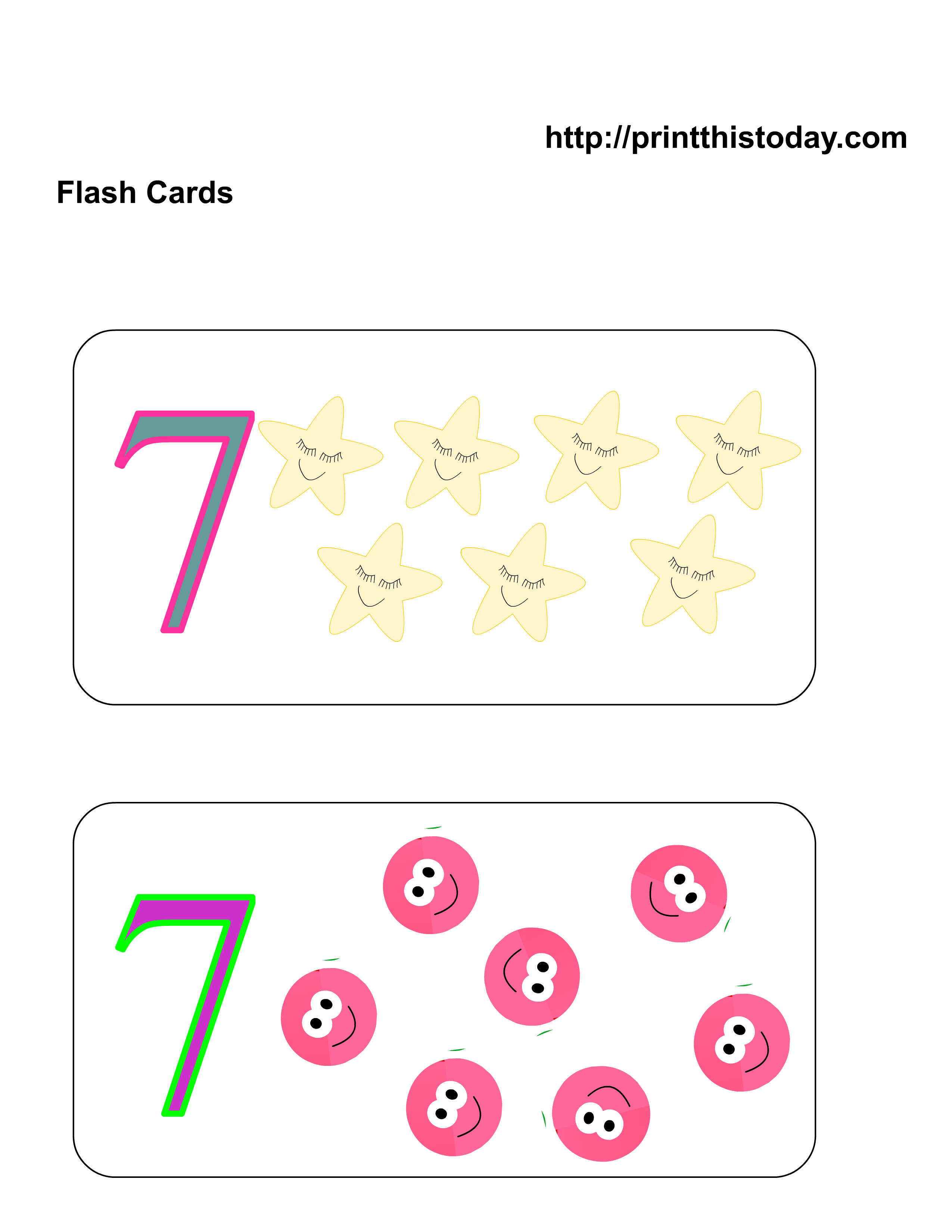Free Kindergarten Math Worksheets (Number Seven,7)