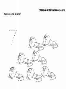 Number seven math worksheet with lions