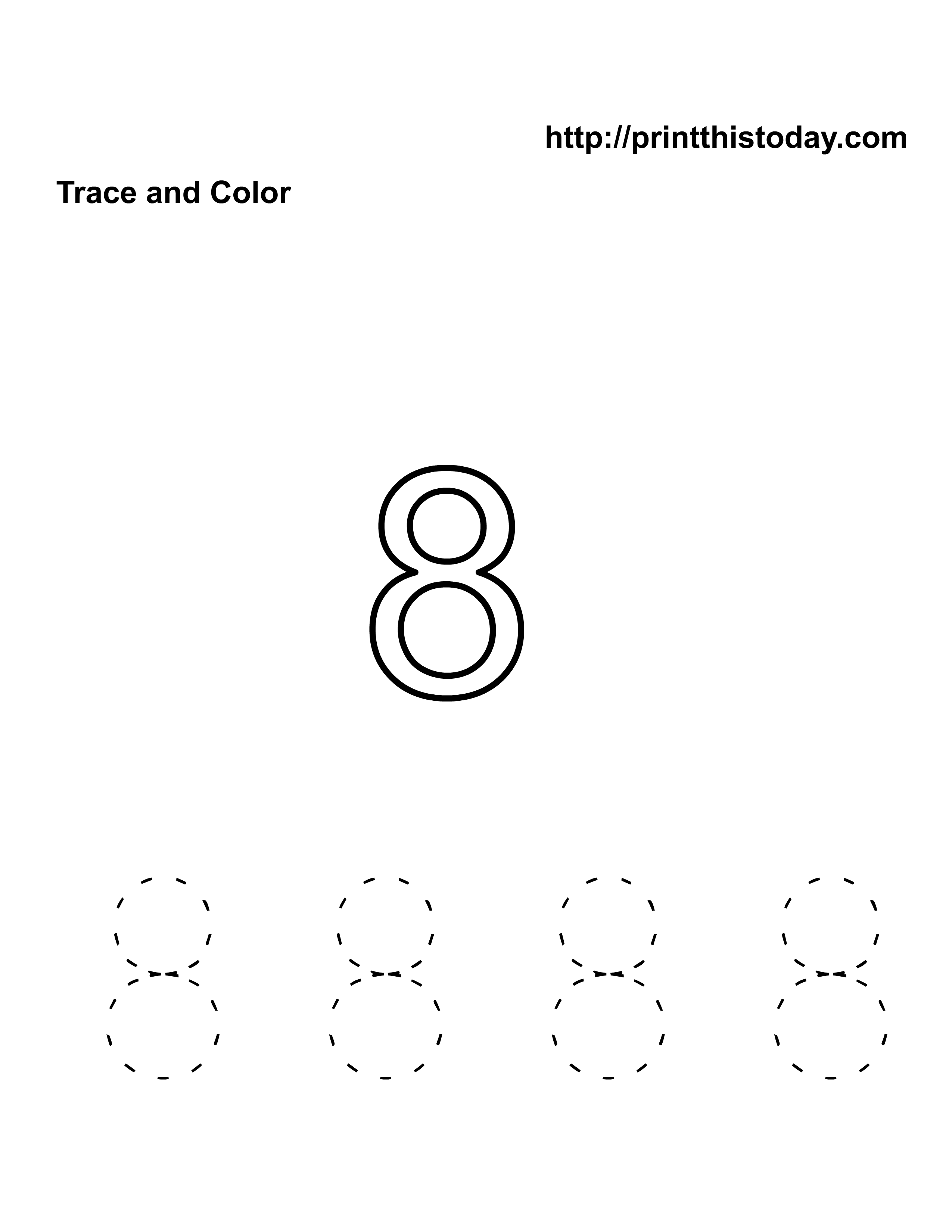 free kindergarten math worksheets number eight 8. Black Bedroom Furniture Sets. Home Design Ideas