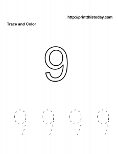 free Number 9 kindergarten math worksheet