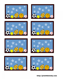 Sports themed baby shower labels