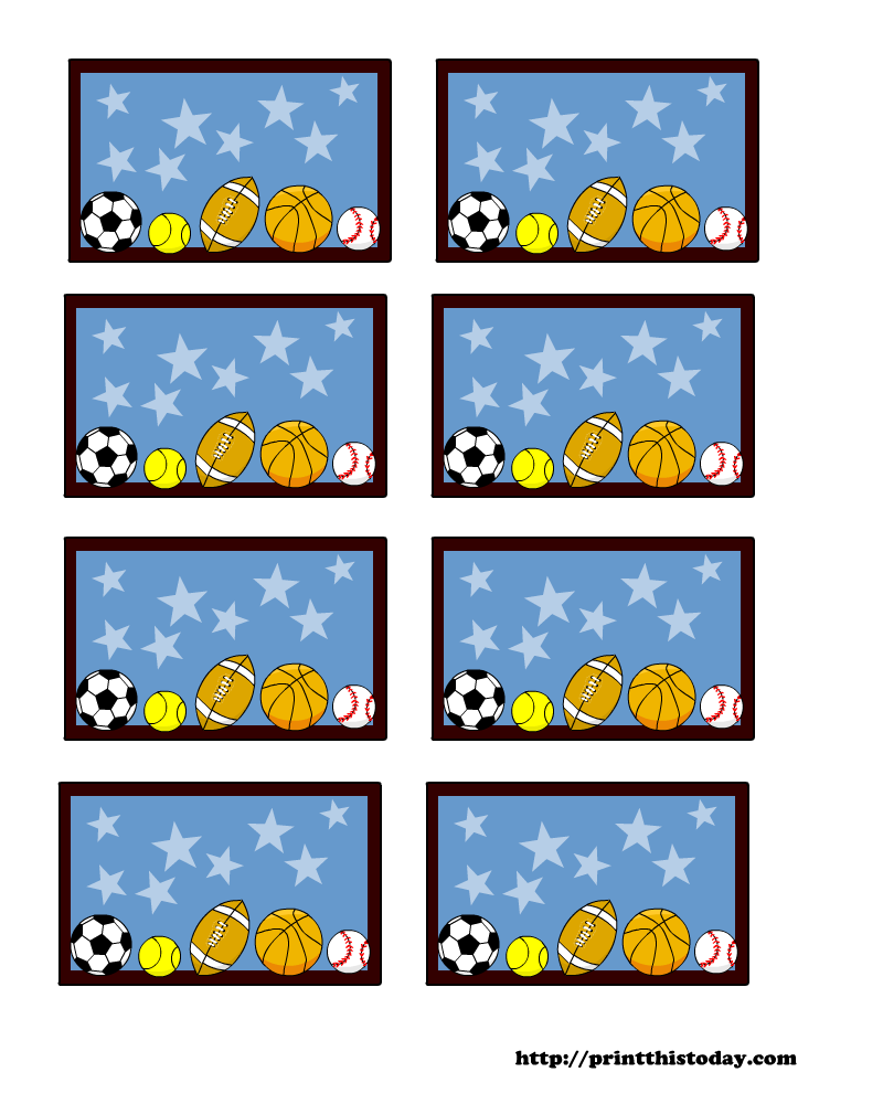 Sports themed Baby Shower Labels (Templates)