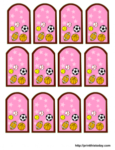 Free sports baby shower favor Tags