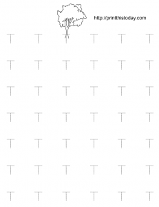 free printable letter T tracing worksheet