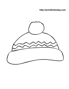 free printable winter coloring page with hat