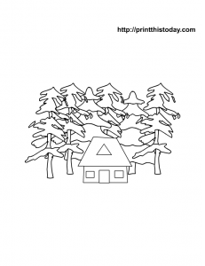 Coloring page with winter hut and trees