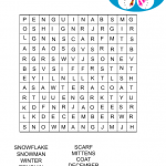 Free Printable Winter word search Game