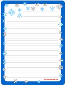 Free Printable winter Stationery