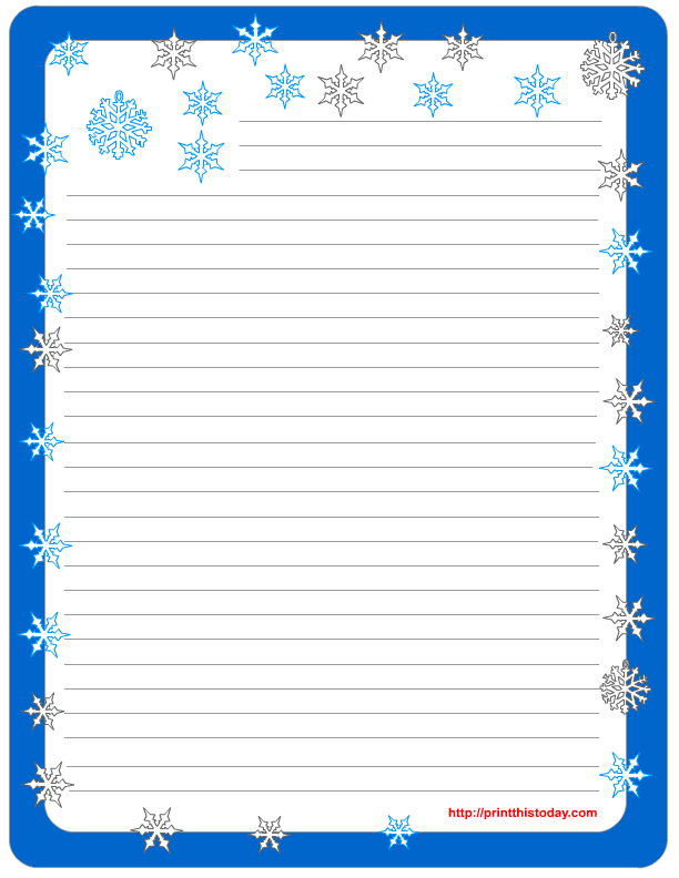 Superb Free Printable Winter Stationery And Letter Writing Paper Template