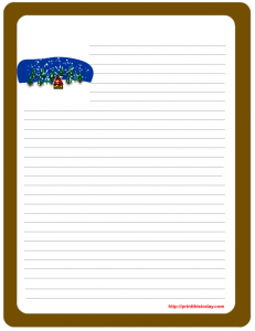 Free printable winter letter pad stationery
