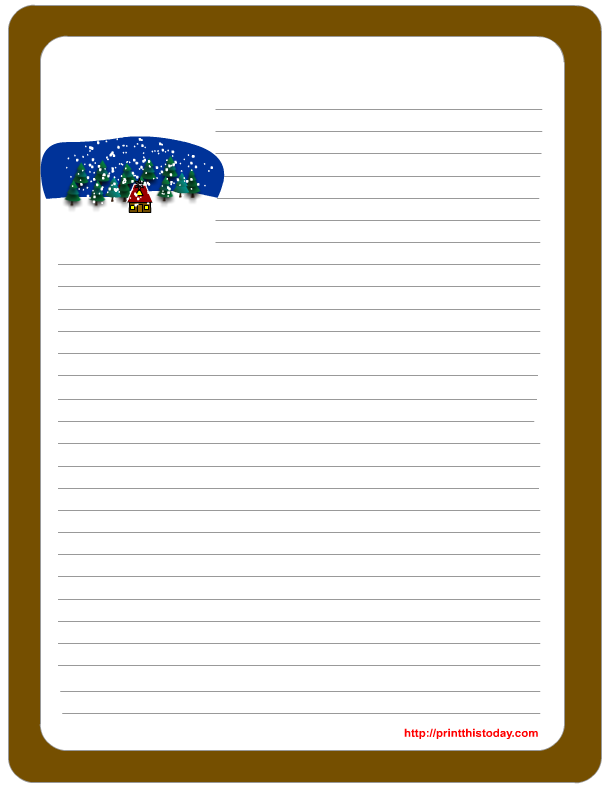 Free winter writing paper free printable winter letter pad stationery spiritdancerdesigns Gallery