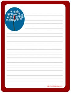 Free Printable winter letter-pad stationer printable