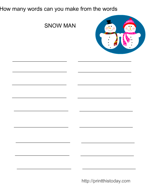 Free Printable Make Words Winter Game