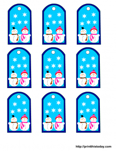 Free printable favor tags with snowman