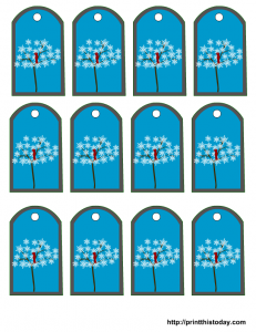 tags printable with snowflakes tree and bird