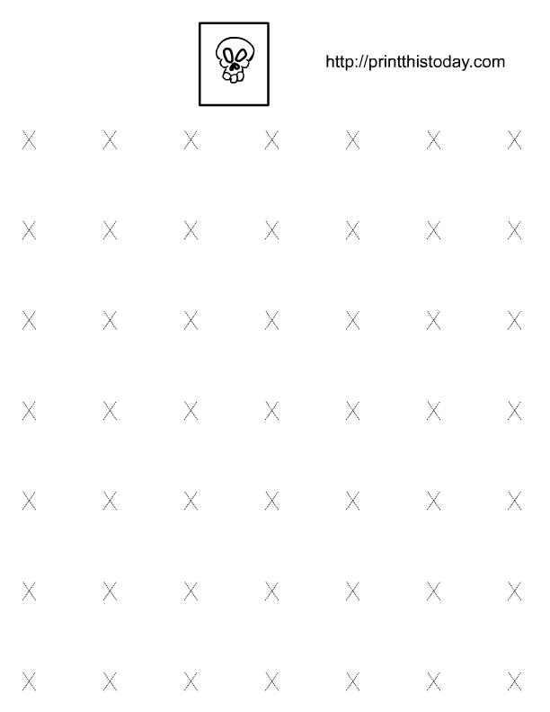 X tracing worksheets for preschool and kindergarten