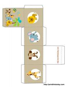 Safari or Jungle themed baby shower favor box