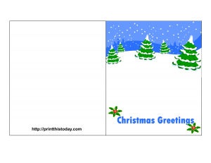 Free Printable Christmas Card with trees and snowflakes