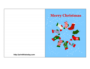 Free Printable Christmas Card with Stockings