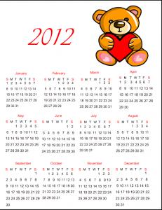 Free Printable 2012 Calendar with Teddy Bear and Heart