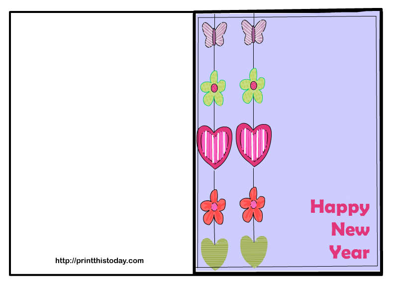 free new year card with hearts flowers and butterflies