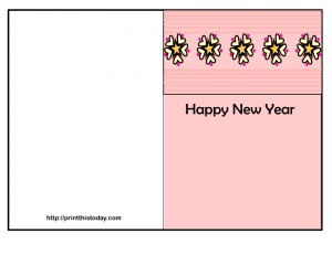 free printable new year card with flowers