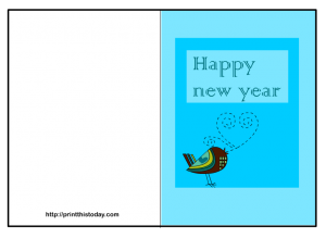 Free new year card with cute bird