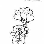 free printable heart coloring page with teddy bear