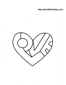free printable heart coloring page with I love you message