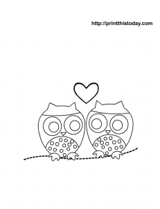 free coloring page with cute owls and a heart