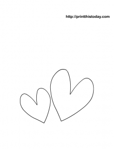 free printable coloring page with two hearts