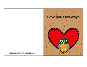 free printable love card with owl