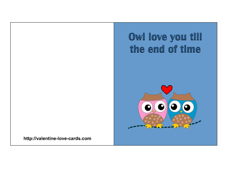 picture about Free Printable Love Cards called Delight in Playing cards with Owls