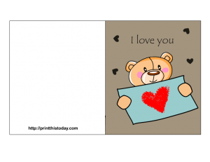 free printable love card for her with teddy bear